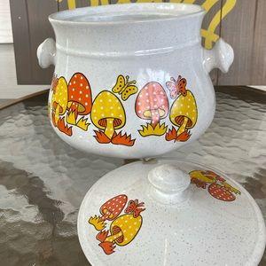 Vintage Kitchen - Sealy Stonewear Ceramic Merry Mushroom Fondue Pot